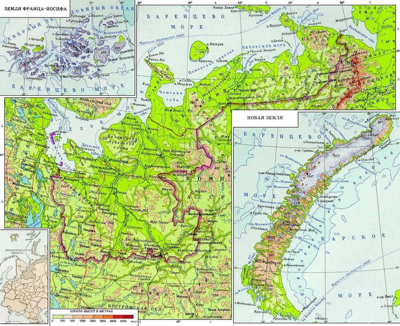 Подробная географическая карта Архангельской области - города, реки, озера, автомобильные и железные дороги.