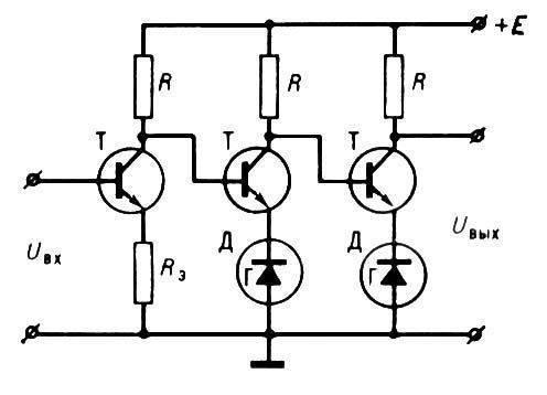 Рис. 1. Схема простейшего однотактного усилителя постоянного тока: Т - транзистор; R - нагрузочный резистор; Rэ...