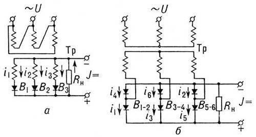 Рис. 2. Схемы выпрямителей трёхфазного тока: а - однополупериодная; б - двухполупериодная мостовая.