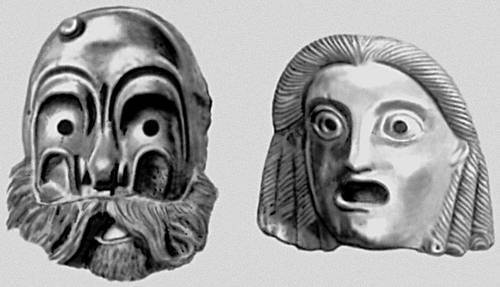 Маски театральные: 1 - маска итальянской комедии дель арте.