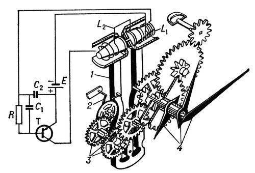 На фото: Наручные механические часы (схема.