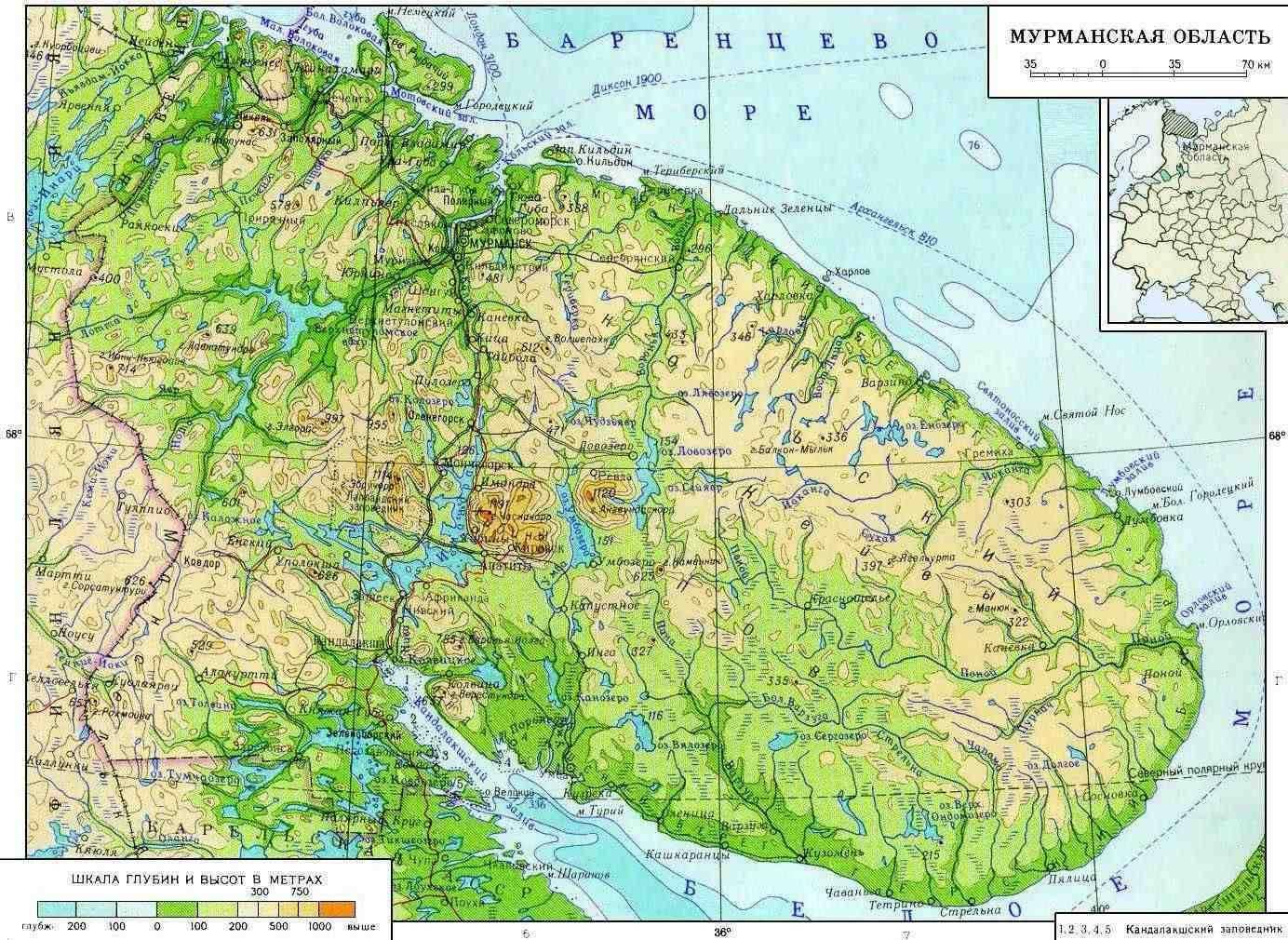 Карта Мурманской области России.