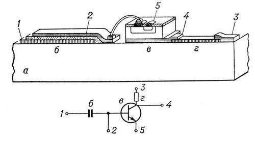 Рис. 2. Поперечное сечение и электрическая схема гибридной интегральной схемы.