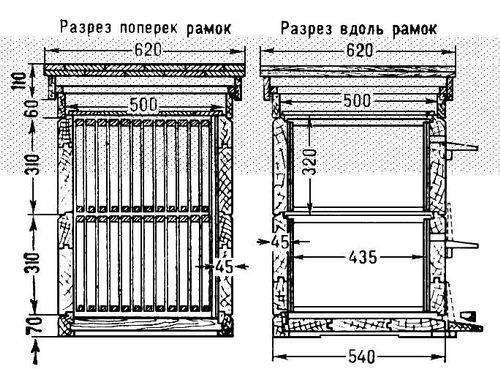 ...постройки с основами столярного дела, М., 1970; Альбом пчеловода, М. Рис. 2. Схема устройства двухкорпусного улья.