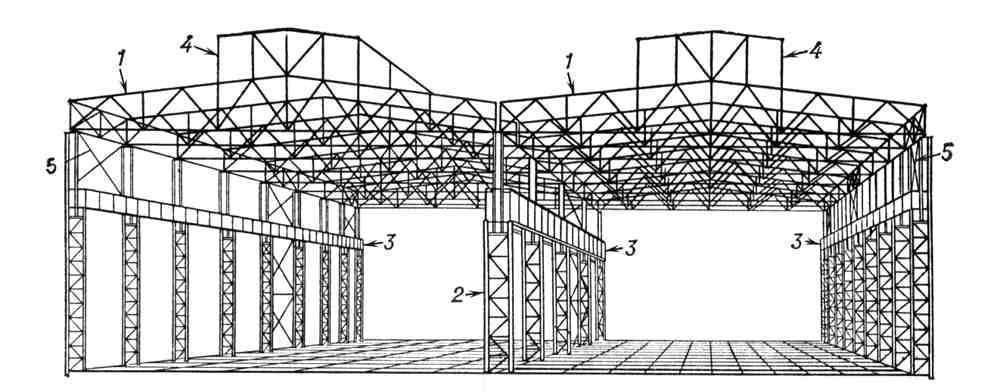 Рис. 1. Конструктивная схема стального каркаса двухпролетного производственного здания: 1 - стропильная ферма; 2...