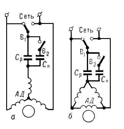 двигатель асинхронный однофазный схема включения.