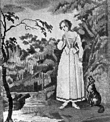 """""""Бедная Лиза """".  Шитая картина, 1820-е гг. частные собрания, Москва.  А., Бисер в старинном рукоделии, М., 1923."""