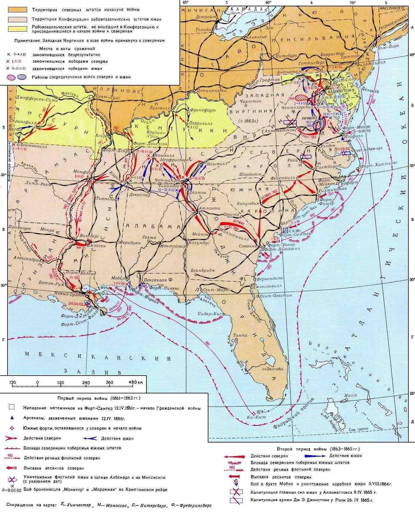 Юга гражданская война в сша