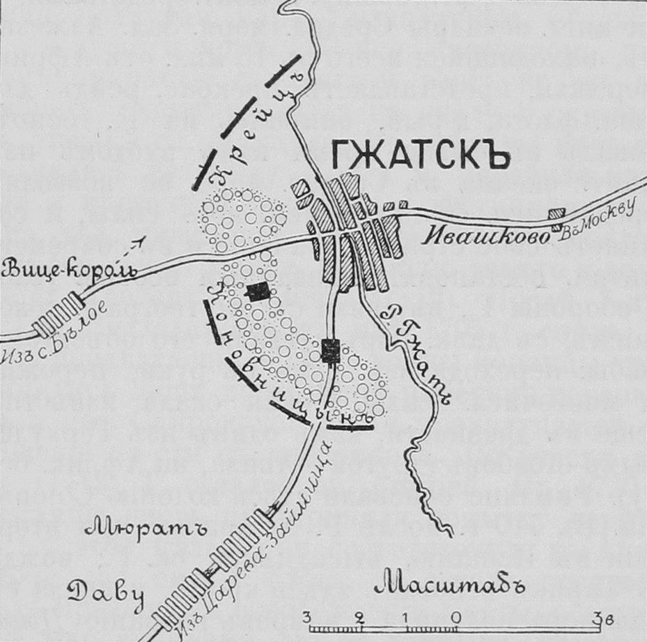 Схема расположение войск у Гжатска 31 (19) августа 1812 года.