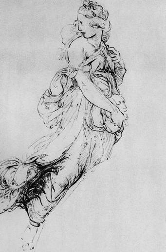 "Рафаэль Санти. Муза Мельпомена. Рисунок для фрески ""Парнас"". 1508. Бумага, перо, тушь. Оксфорд, Музей Эшмола"