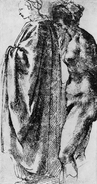 Микеланжело Буонарроти. Штудии фигур и драпировок. Деталь. 1494—1496. Бумага, перо, бистр. Шантийи, Музей Кондэ