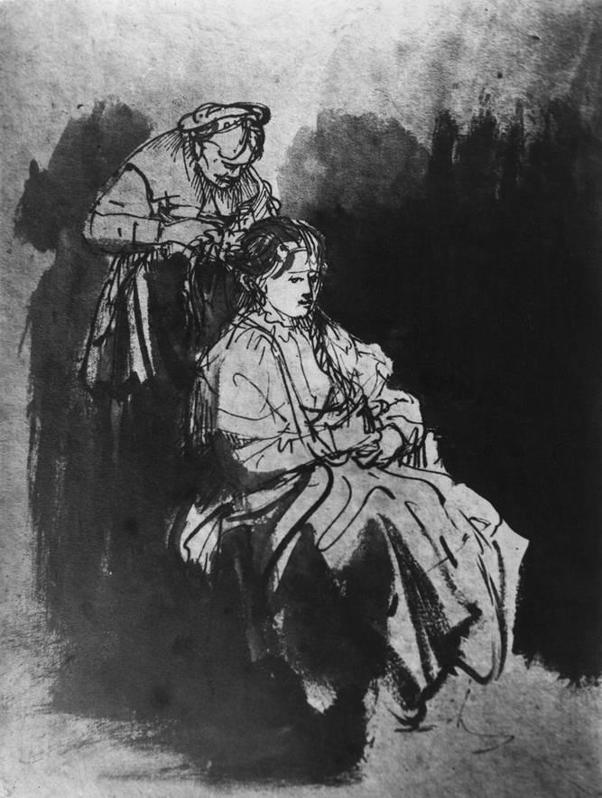 Рембрандт. Молодая дама за туалетом. Около 1632 г. Бумага, перо, кисть, бистр, тушь. Вена, Альбертина