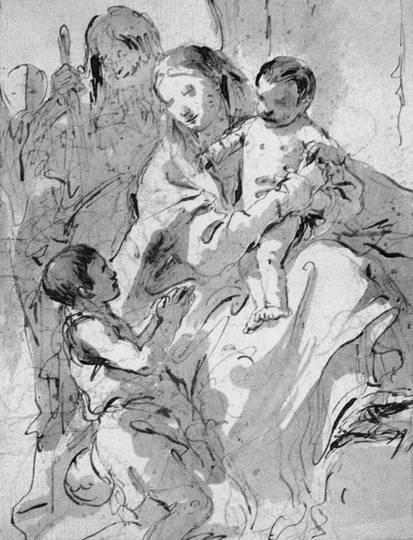 Дж. Б. Тьеполо. Святое семейство и младенец Иоанн Креститель. Около 1730 г. Бумага, карандаш, кисть, бистр. Санкт-Петербург, Эрмитаж