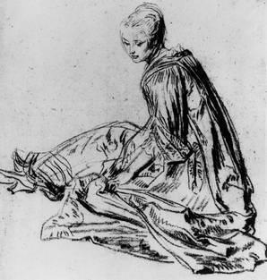 А. Ватто. Этюд сидящей девушки. Около 1717 г. Бумага, итальянский карандаш, красный мел. Шантийи, Музей Кондэ
