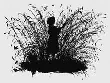 """Е. М. Бём. Силуэт из цикла """"Дети"""". 1875. Бумага, тушь, перо. Санкт-Петербург, Русский музей"""