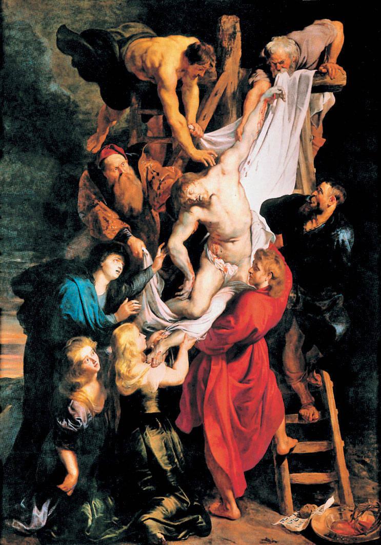 1. П. П. Рубенс. Снятие с креста. 1612—1614. Дерево, масло. Антверпен, собор Нотр-Дам де Анвер